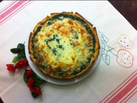 Receta: Tarta de espinaca y jamón / ham and spinach pie (con base de pan de molde)
