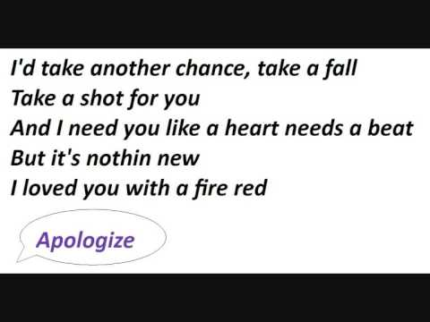 Onerepublic - Its Too Late To Apologize video
