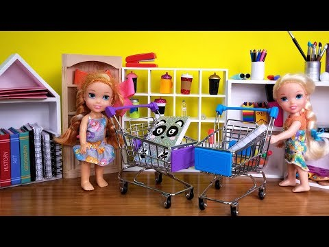 Back to School shopping ! Elsa and Anna toddlers buy supplies from store - Barbie is seller