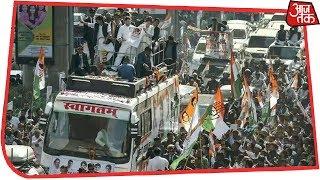 Priyanka - Rahul Gandhi चुनावी रथ पर सवार, Lucknow के Road Show में उमड़ा जनसैलाब
