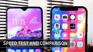 OPPO F9 vs iPhone X SPEED TEST   Zeibiz