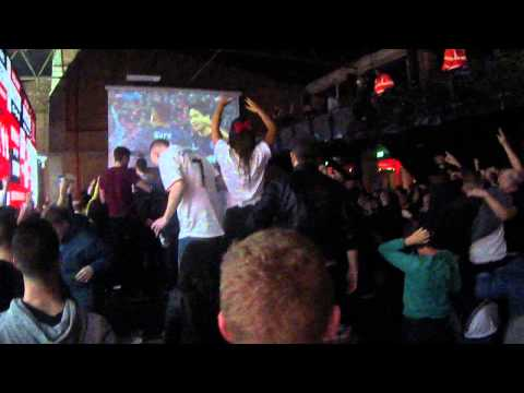 Man United supporters celebrate Evra's goal vs Bayern Munich 9/4/14