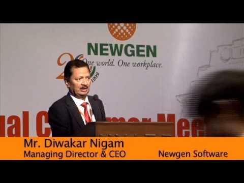 Newgen Customer Meet 2012, Delhi - Address by Mr. Diwakar Nigam, Managing Director, Newgen - YouTube