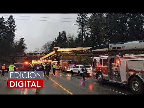 Un tren de Amtrak se descarrila y cae a una autopista cerca de Seattle