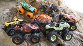 Woah! Soldier Fortune! Zombie Hunter! Titan! Dragon with orange Color Treads! Hot Wheels Monster Jam