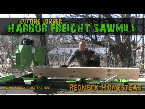 First Lumber Run & Further Review: Central Machinery / Harbor Freight Sawmill   Redneck Homestead