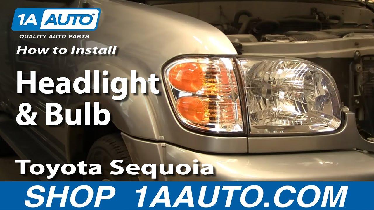 install replace headlight  bulb toyota sequoia