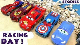 Disney Cars Toys McQueen Race Day with Hot Wheels Batman Avengers & Thomas and Friends TT4U