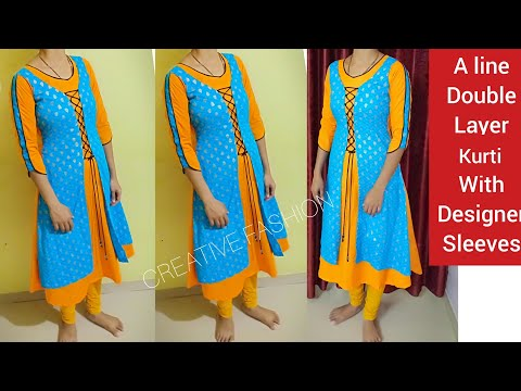 A line double layer kurti cutting with designer sleeve pattern हिंदी