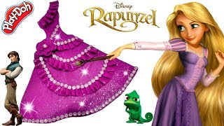 Play Doh Making Fashion Evening Dress For Barbie Disney Princess Rapunzel Toys For Girls