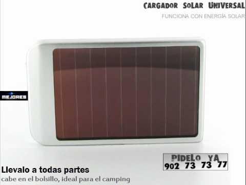 Cargador Solar Universal para Móvil. GPS. PDA. mp3. funciona de noche