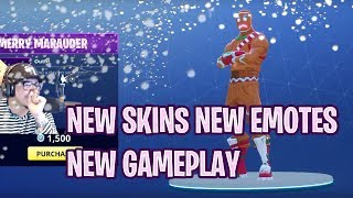 FIRST LOOK BUYING/PLAYING NEW SKINS & SEASON BATTLE PASS (FORTNITE NEW CHRISTMAS UPDATE)