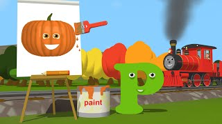 Learn about the Letter P and Paint a Pumpkin - The Alphabet Adventure With Alice And Shawn The Train