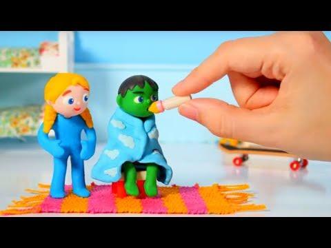 SUPERHERO BABY TAKES HIS MEDICINE ❤ Superhero Babies Play Doh Cartoons For Kids