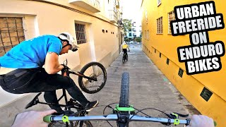 RIDING URBAN MTB FREERIDE ON ENDURO BIKES IN MALAGA!