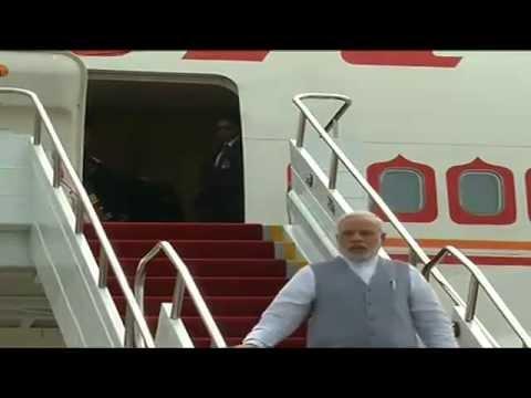PM Narendra Modi arrives at Fortaleza, Brazil for the BRICS summit 2014