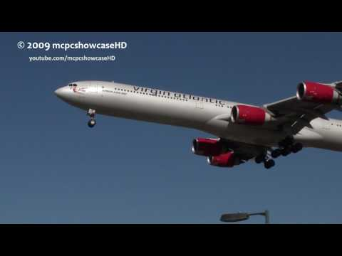 ABOUT THIS VIDEO A Virgin Atlantic Airbus A340-600 makes her final approach and then lands on Runway 27L at London Heathrow Airport. In July 2004, Cover Girl...