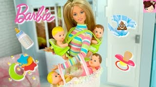 Barbie BabySitting 4 Babies - Change  Dirty Diaper, Feed - Barbie Baby Dolls - Toys for Kids