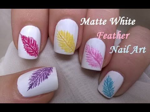 Matte White Nails Design / How To: Easy FEATHER Nail Art - YouTube