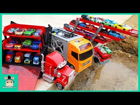 Car Toy Learning Videos for Kids. Disney Tomica Cars3 Truck Hauler Carry Case Display  MariAndToys