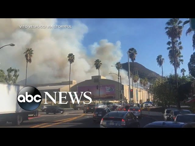 Wildfires in California spread dangerously close to Hollywood | ABC News thumbnail