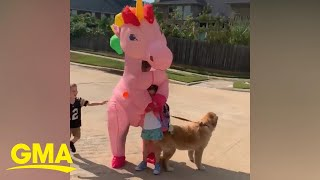 Mom surprises daughter at bus stop dressed as unicorn l GMA Digital