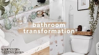 DIY BATHROOM MAKEOVER + $20 Marble Countertops // Lone Fox