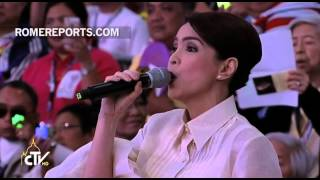 Jamie Rivera, Filipino Gospel singer, performs for Pope Francis
