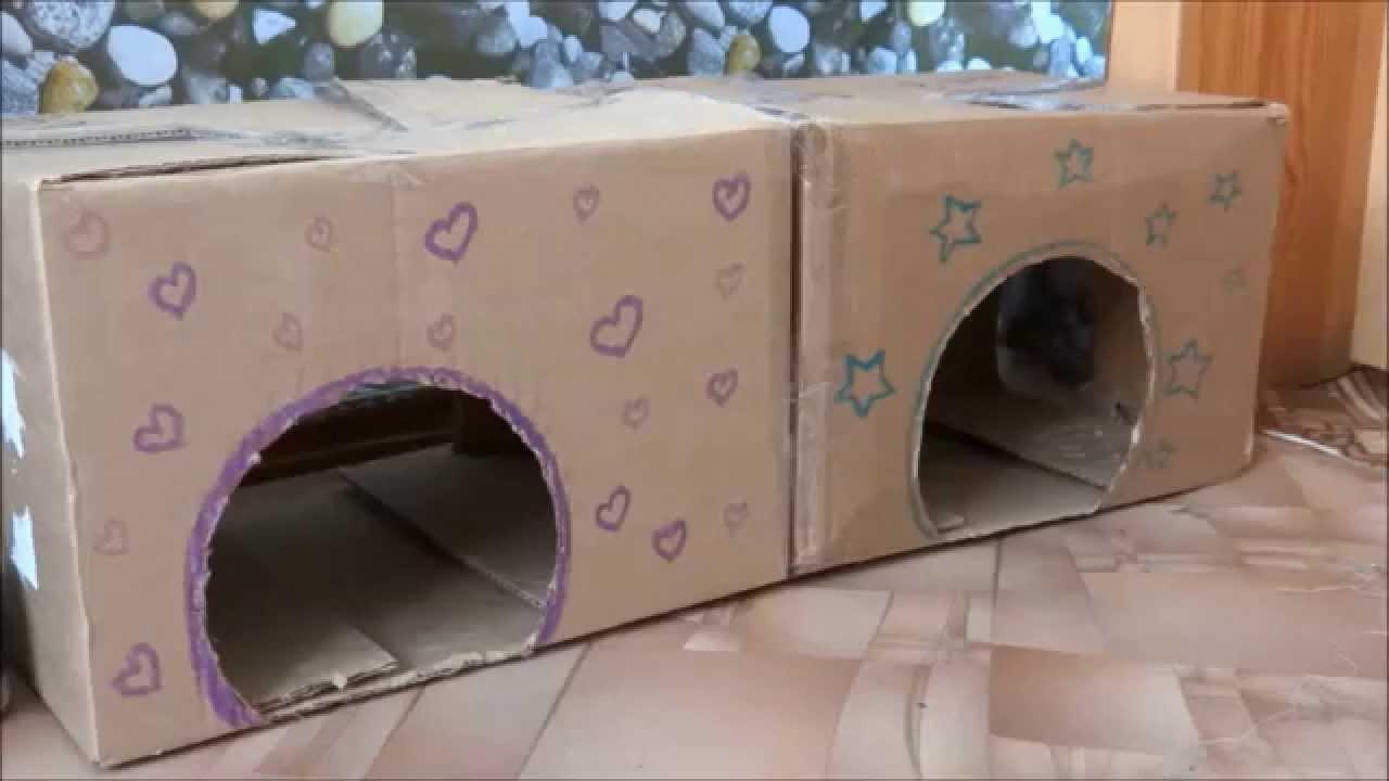 Как сделать домик из коробки для кроликов своими руками 50