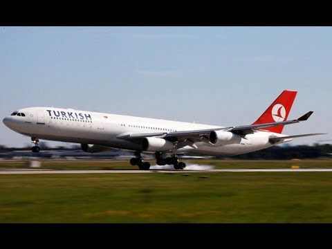 Turkish Airlines A340-300 comleting its flight from Istanbul to Düsseldorf.