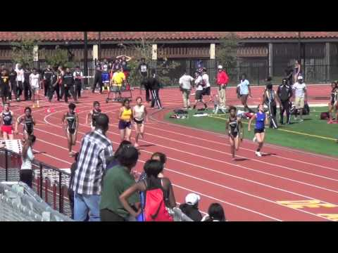 Aliyah Wilkins wins heat of 100m at De Anza College 3/14/14