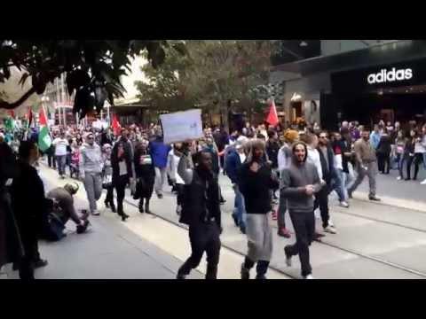 Pro Palestinian rally protest. Melbourne, Australia. 19th July 2014.