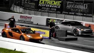 616 HP McLaren MP4-12C v Tuned Nissan GT-R - 1/4 mile Drag Race Video - Road Test TV ®