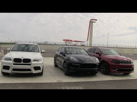 2014 Jeep Grand Cherokee SRT vs BMW X5 M vs Porsche Cayenne GTS 0-60 MPH Mashup Review