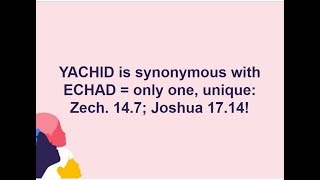 Video: Echad and Yachid mean Singular 'One', not Compound 'One'. Christian Trinitarians have it all wrong! - Anthony Buzzard