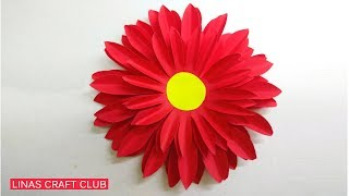 Dahlia Paper Flower Diy Making Tutorial | Paper Flowers Easy for Children | linascraftclub