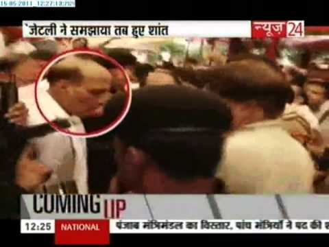 BJP Chief Rajnath Singh slaps his security commando! Watch his tolerance level!
