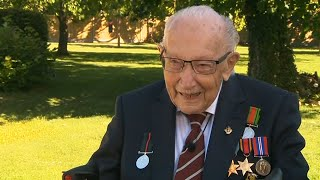 video: Sir Tom Moore: 100-year-old fundraising veteran 'overawed' to be given knighthood