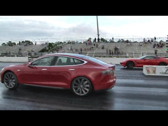 2014 C7 Corvette vs Tesla Model S P85 - 1/4 mile Drag Race Video - StreetCarDrags