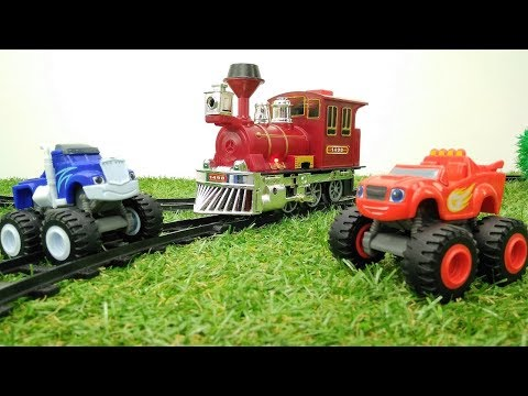 Blaze and Monster machines & toy train. Videos for kids.