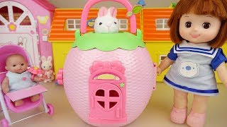Baby doll strawberry house rabbit toys baby Doli play