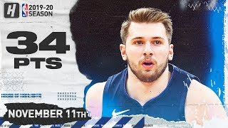 Luka Doncic Full Highlights vs Celtics (2019.11.11) - 34 Pts, 9 Ast, 6 Reb!