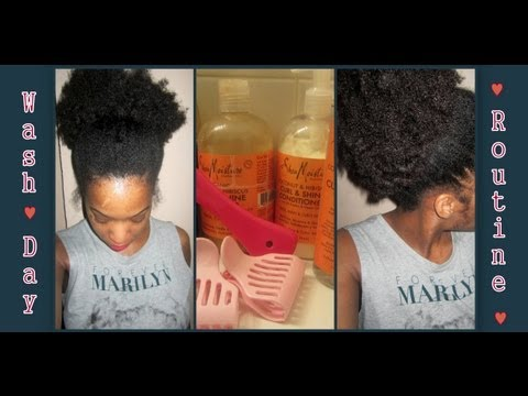 Wash Day Routine ft. Shea Moisture ♥(Natural Hair)♥