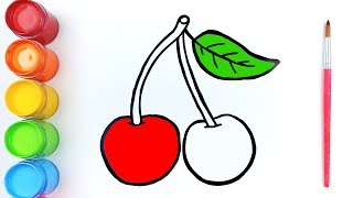 Learn colors - Drawing Cherry Pineapple and Apple   Jolly Art ♡