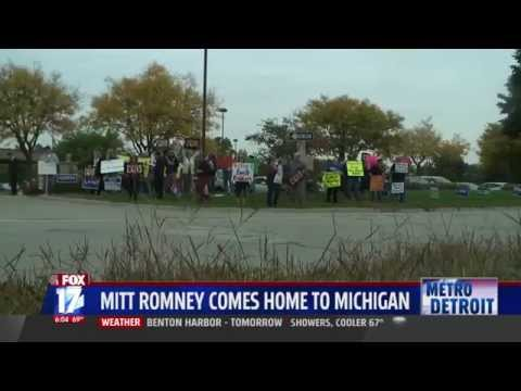 MoveOn Members Protest Mitt Romney Outside GOP Campaign Events