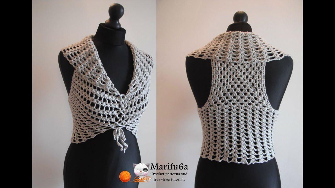 Free Crochet Patterns For Vests Beginners : How to crochet vest bolero shrug, Chaleco, for beginners ...