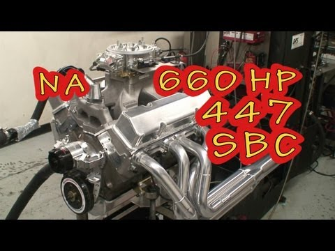 Mean 447 CI(7.3L) NA 660 HP SBC from Nelson Racing Engines.  NRE TV.