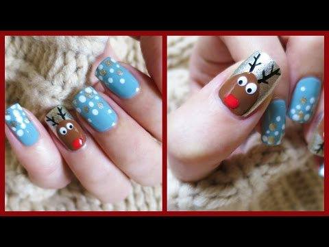 Christmas Nail Art! Easy Reindeer Design!