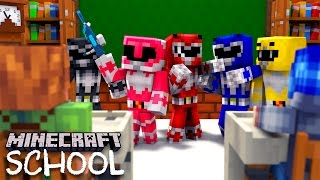 Minecraft School -POWER RANGERS TRAINING DAY IN SCHOOL!