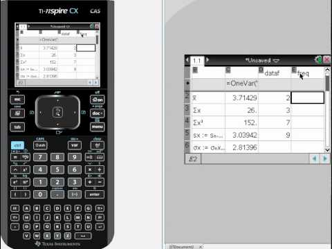 Calculating 1-Var Statistics with a TI-NSPIRE